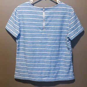 Striped structured tee with zipper closure